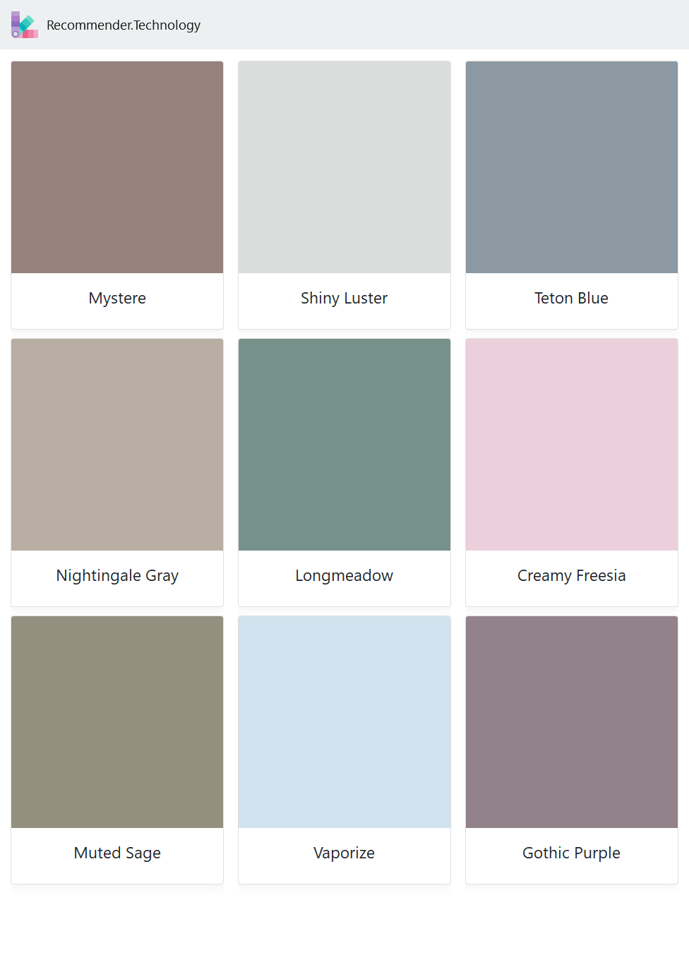 Mystere, Nightingale Gray, Muted Sage, Shiny Luster ...  Muted Blue Grey Paint Color