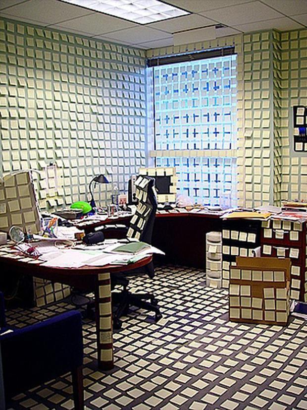 Sticky Note Office Prank Practical Jokes Pranks Pinterest