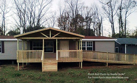 Front Porch Designs For Moblie Homes Mobile Home Porch With Wheelchair Ramp For The