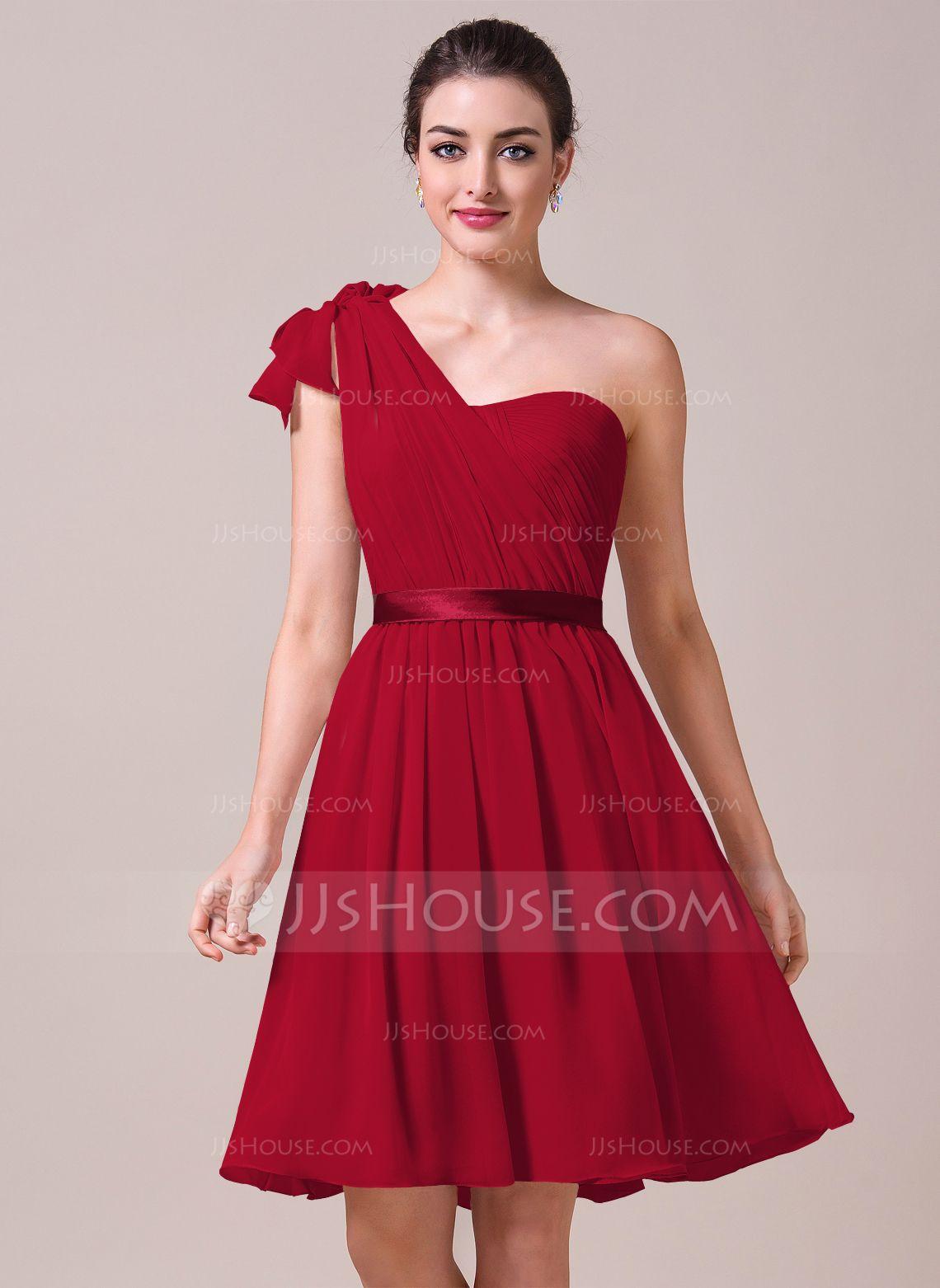 aef90c9cad53e A-Line/Princess Sweetheart Knee-Length Chiffon Charmeuse Bridesmaid Dress  With Ruffle Bow(s) (007057704) - JJsHouse