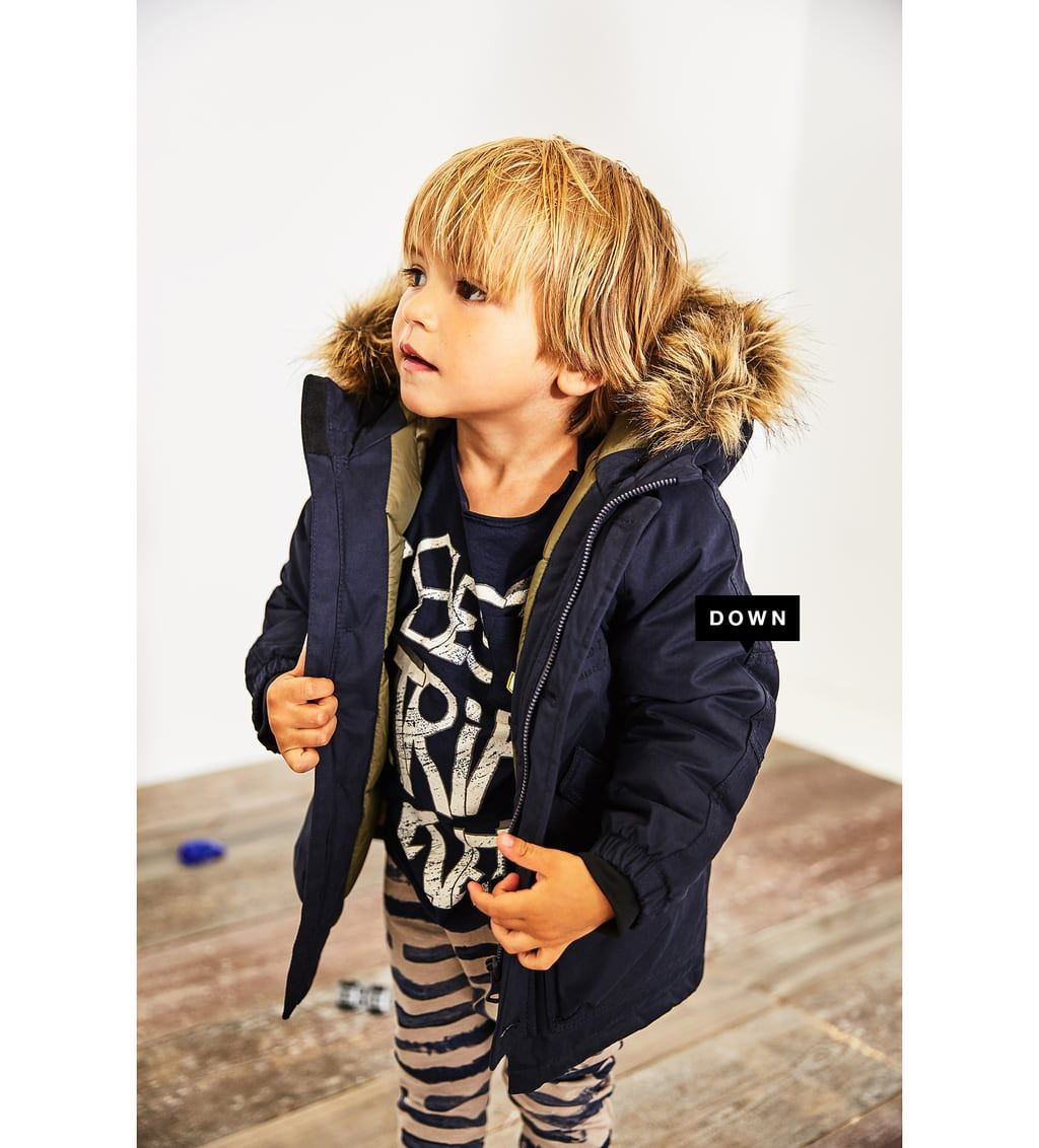 Quilted Feather Down Coat With Faux Fur Hood View All Coats Baby Boy 3 Months 4 Years Kids Zara United States Baby Boy Coat Baby Coat Toddler Coat [ 1132 x 1024 Pixel ]