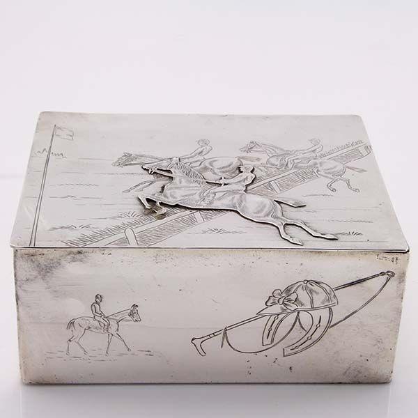 Equestrian Interest Silver Plated Horse and Jockey Hurdling Lidded Box #English