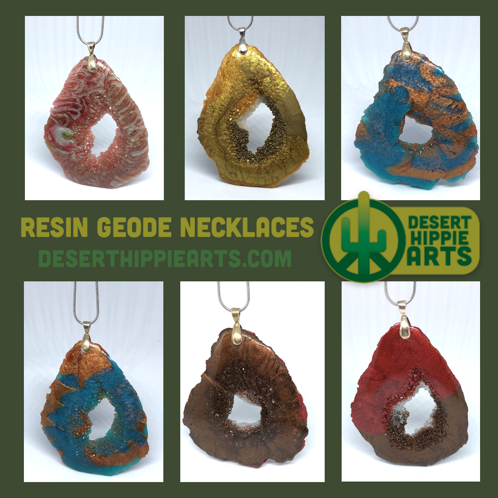 These handmade resin geode necklaces are made from colored and clear resin and they come with a 10″ silver necklace.      #resin #resinart #coloredresin #resinart #resinartideas #resinarttechniques #giftsforher #giftsforteens #giftsformom