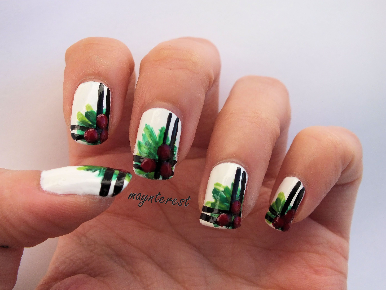 Diseño de uñas Muérdago Navidad | Mistletoe Christmas nail art ...
