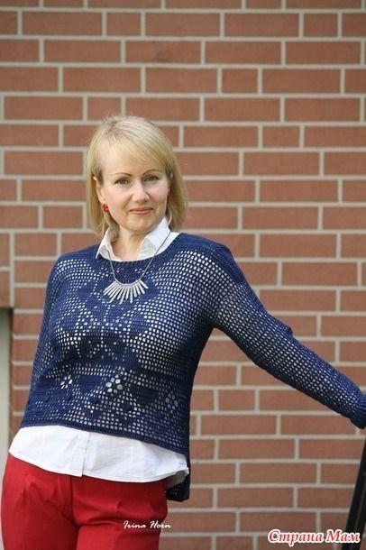 (pin)Пуловер для подруги. В этом году укоротила синюю юбку до миди длины, и к ней решила связать пуловер.
