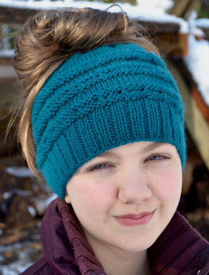 Free Knitting Pattern For Eyelet Messy Bun Hat Sizes Adult Child
