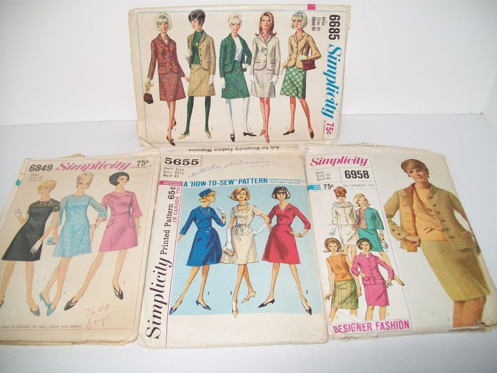 4 Vtg 1960s Womans sz 20 Sewing Pattern Lot 40\