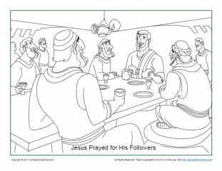 Jesus Prayed For His Disciples Coloring Page on Sunday ...