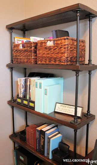 Industrial Pipe Bookcase WellGroomed Home Office  Craft Room - Pipe bookshelves