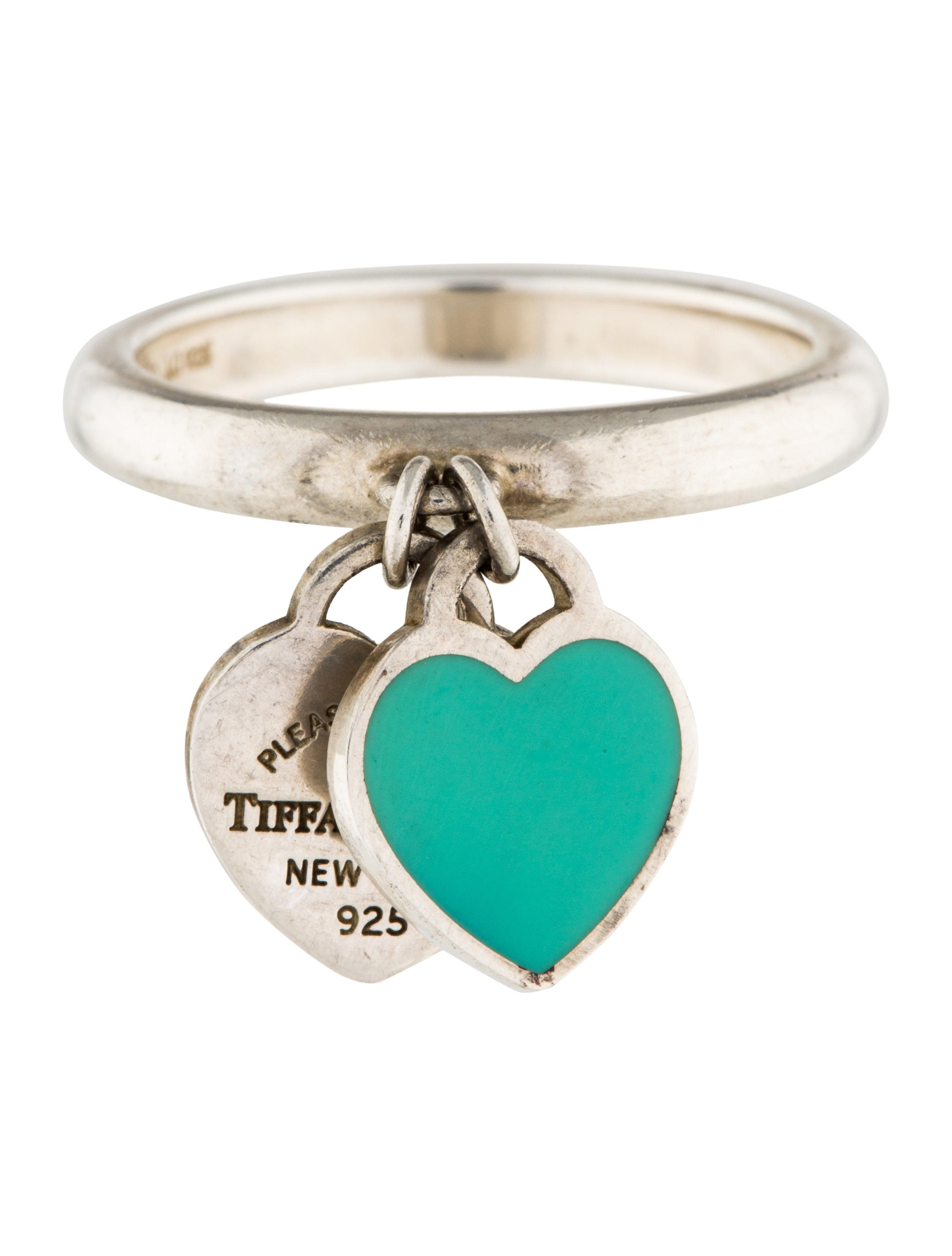 8c643cda8 Sterling silver Tiffany & Co. Return To Tiffany Double Heart Charm ring  with signature blue enamel.