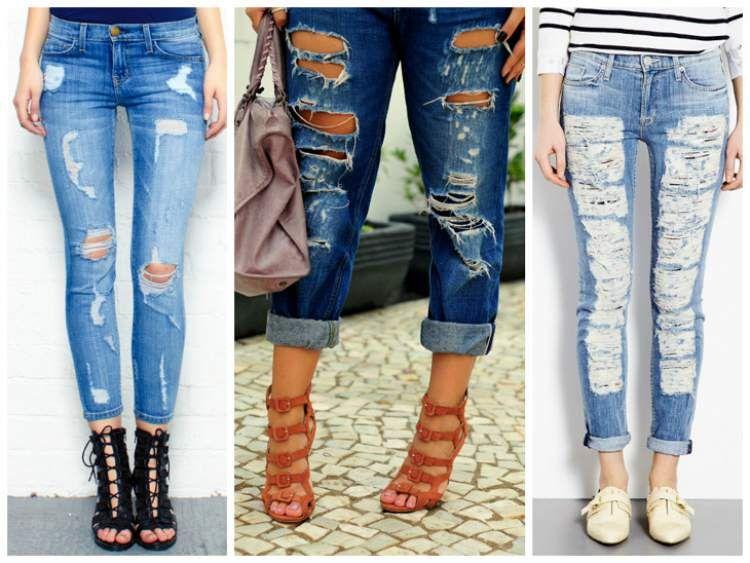 calça jeans rasgada torna o look mais estiloso