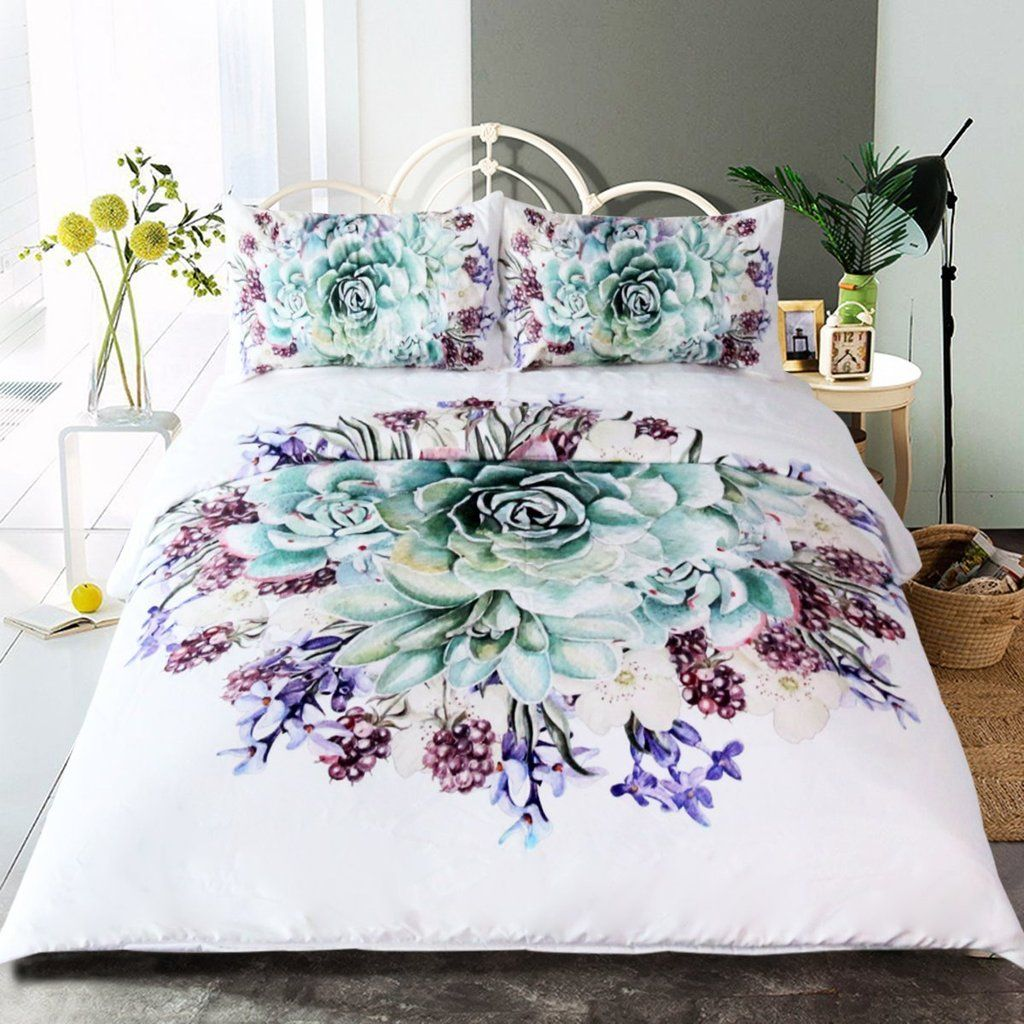 Green Succulents Bedding Set 3pcs Bed Linen Design Bed Linens Luxury Bedding Set