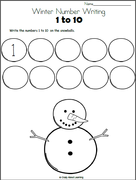 Snowman Math - Write the Numbers to 10   Números y Años
