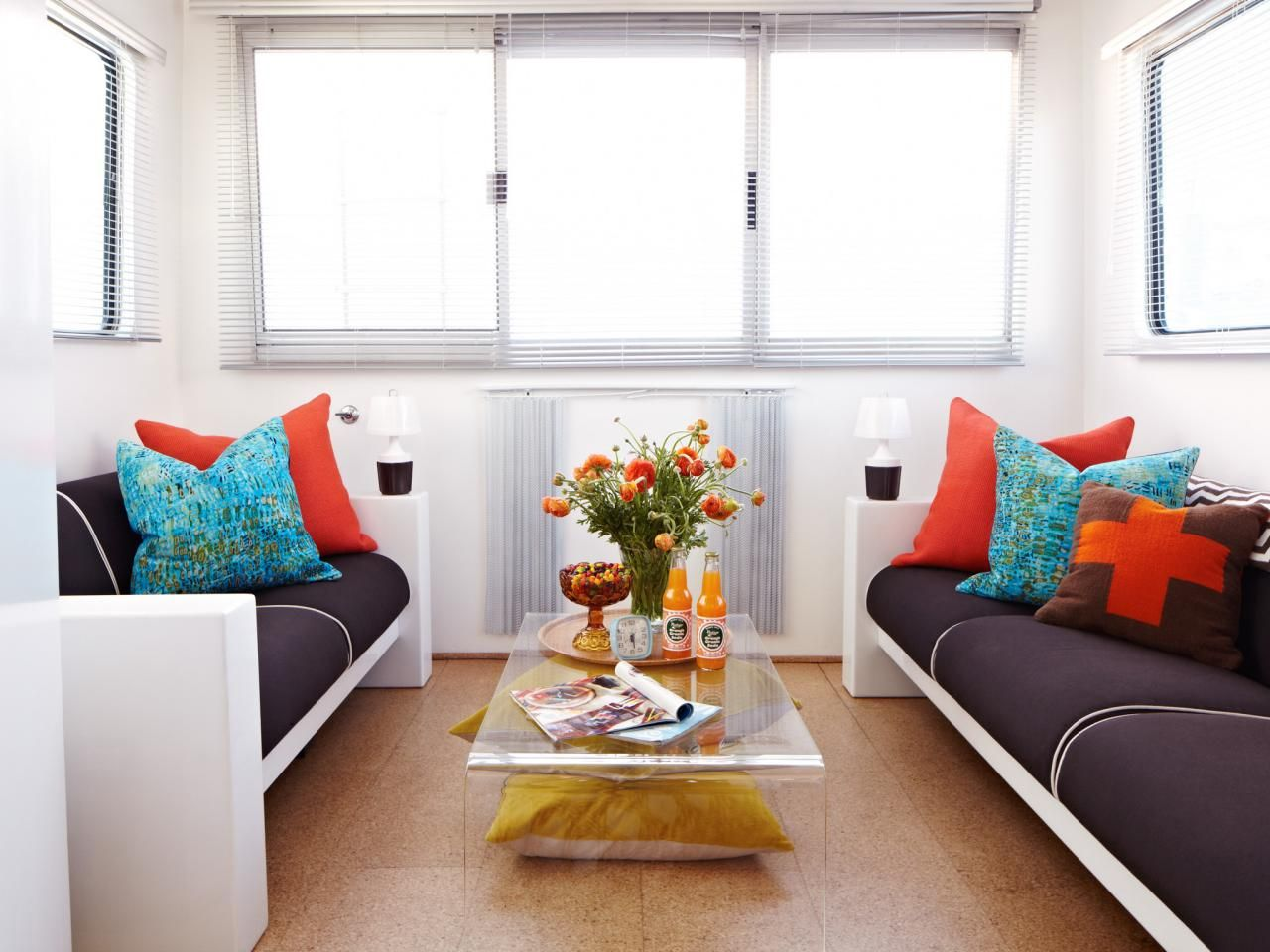 Paired with brown, blue and orange take on a decidedly retro flair ...