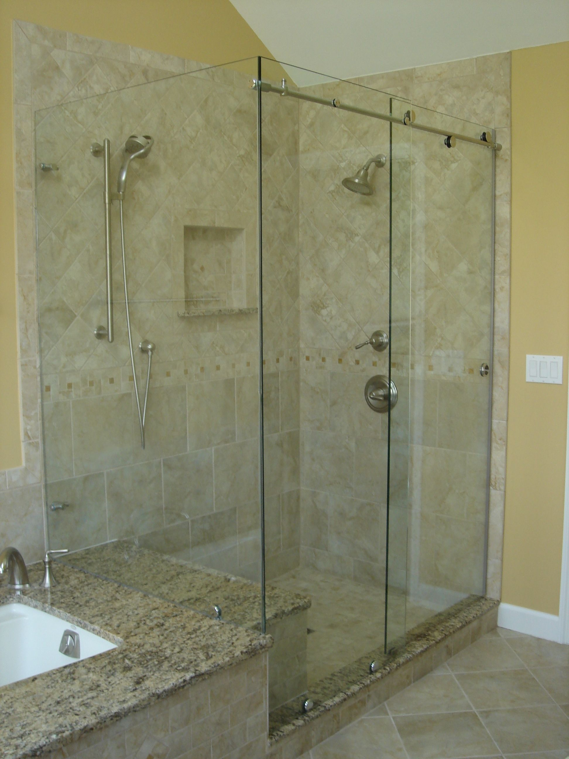 Glass shower doors frameless new cardinal skyline series for Bathroom glass door designs