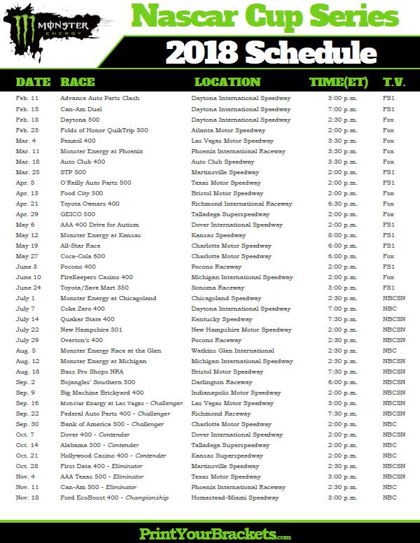 Printable 2018 Nascar Schedule Nascar Racing Schedules Nascar