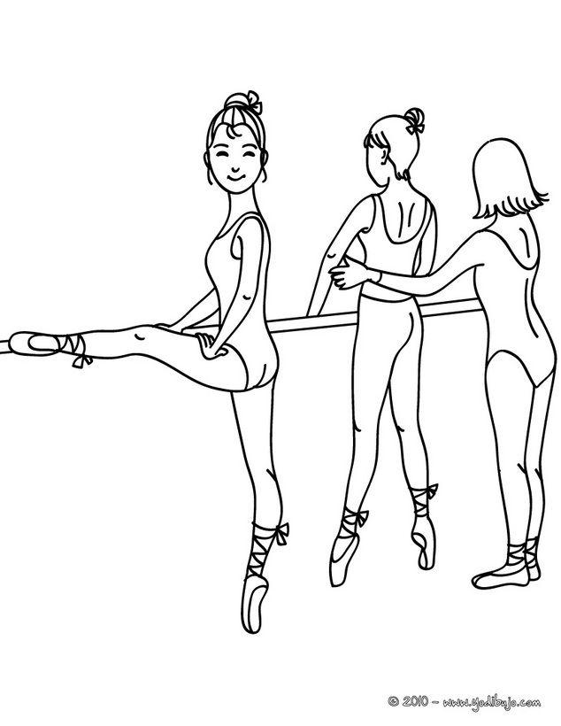 Dibujo Para Colorear Profesor Y Bailarina Haciendo Arabesco En La ...