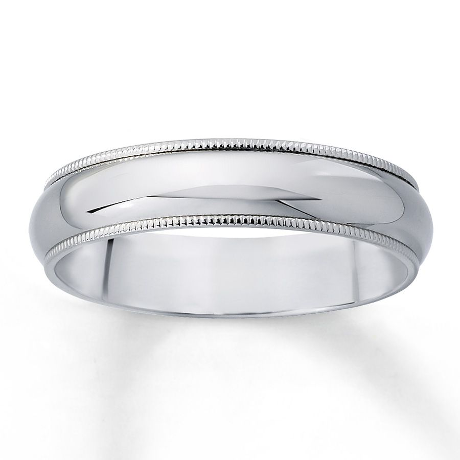 44999 jared mens wedding band milgrain finish 14k white gold - Mens White Gold Wedding Ring