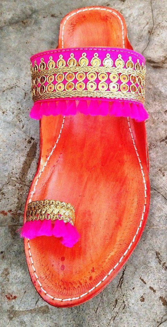 10bbb4a5adf2 Gold Indian Kolhapuri Sandals Chappals Sandals for Women Women Flats Boho  Summer ethnicjodaas Sandal