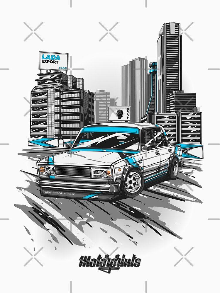 'Lada Export 2105 (blue)' T-Shirt by MotorPrints