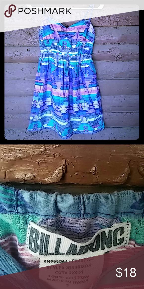 Billabong Aztec Summer Dress Bright Blue, Green, Different shades of Purple, Azrec Pattern Dress. Been pre-loved but in great condition still! Aeropostale Dresses Mini