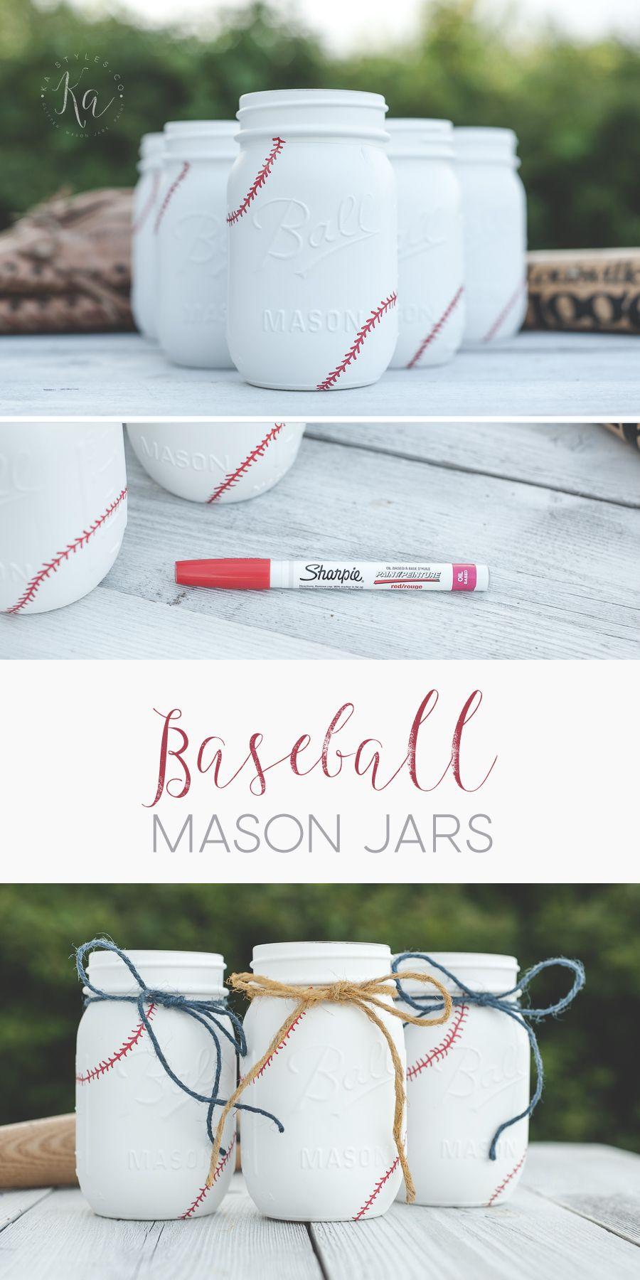 Photo of More Baseball Mason Jars – Sprinkled and Painted at KA Styles.co