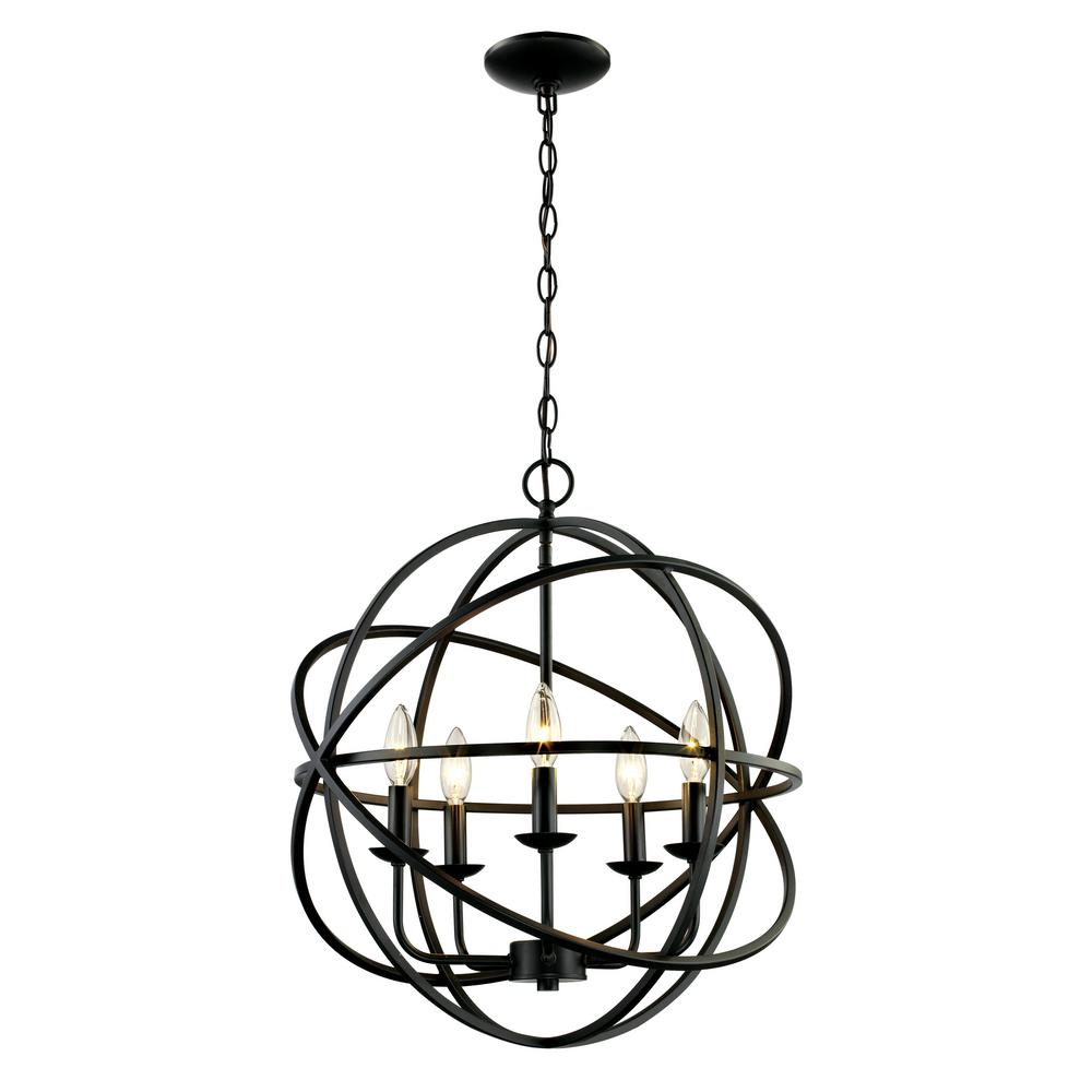 Bel Air Lighting 5 Light Rubbed Oil Multi Ring Orb Bronze Chandelier 70655 Rob