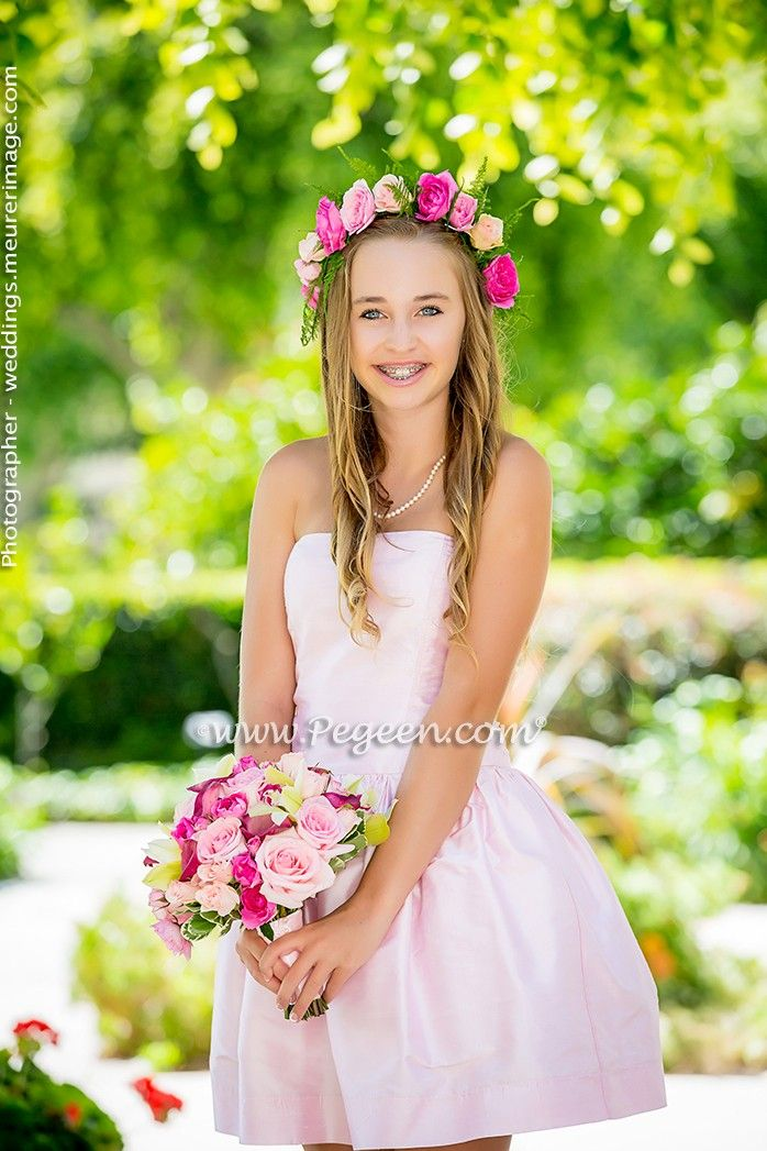 Bubblegum Pink Strapless Jr Bridesmaids Dress By Pegeen