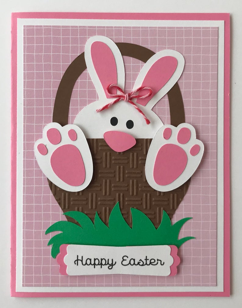 handmade easter bunny in a basket card a2 girl  etsy in