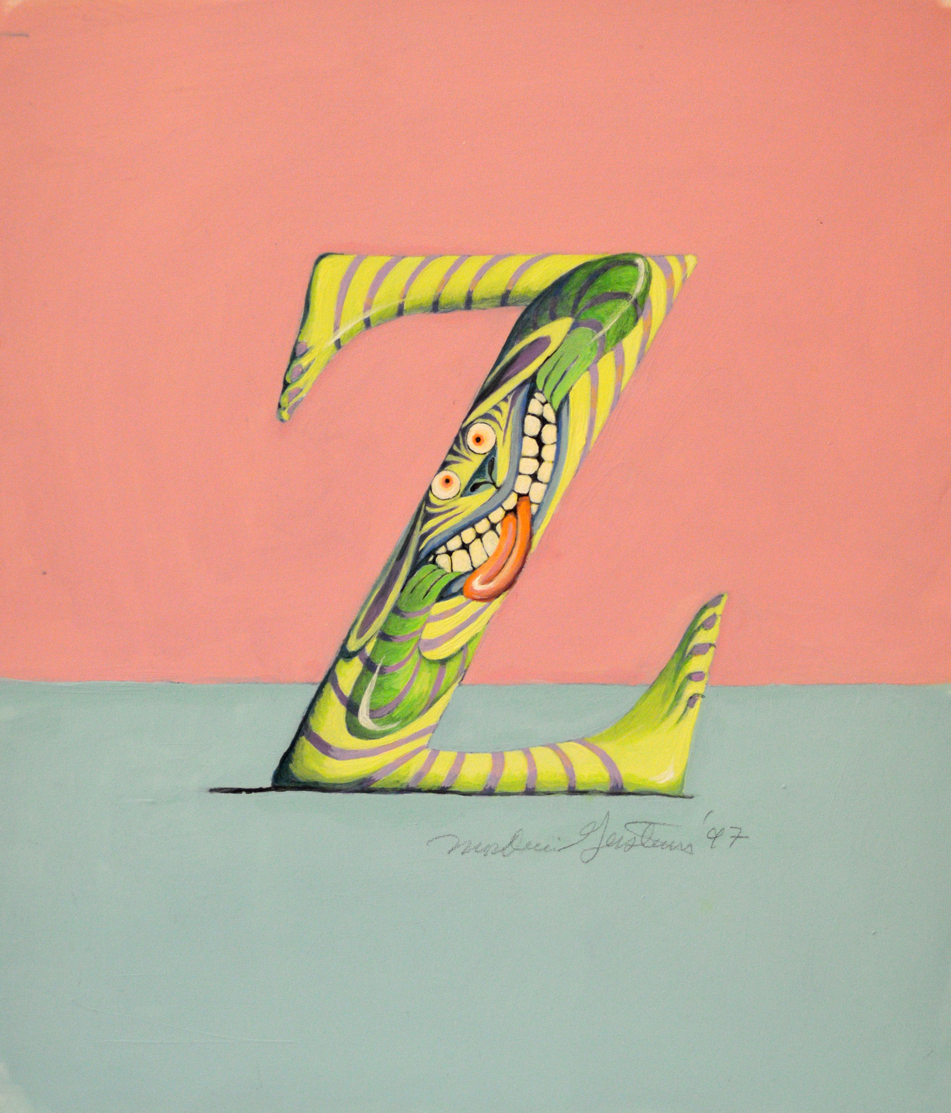 """Letter Z"" original illustration from The Absolutely Awful Alphabet written and illustrated by Mordicai Gerstein 