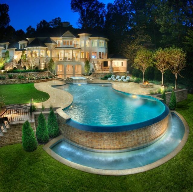 Pools With Waterfalls wet & wild waterfalls for your pool | landscaping, pool waterfall