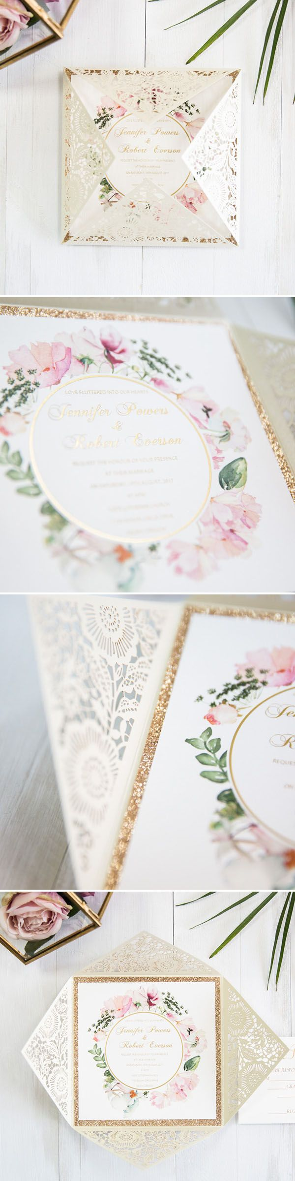 ivory and blush pink gold glitter watercolor laser cut wedding ...