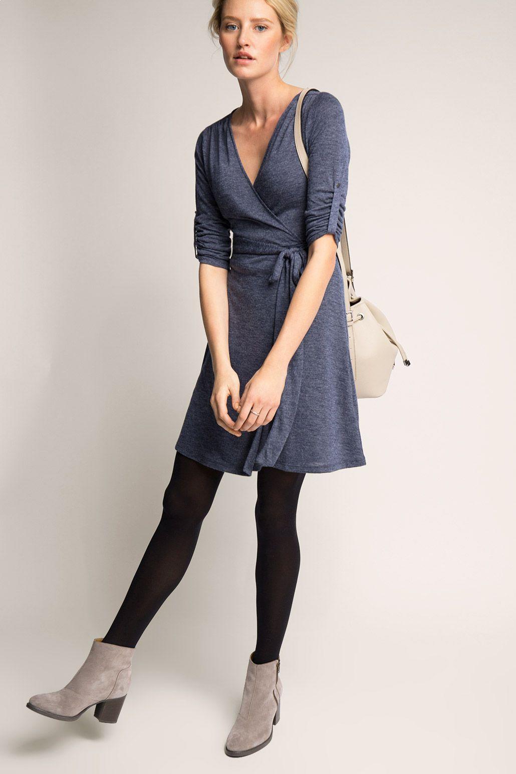 Fließendes Melange-Jersey-Kleid in 2020 | Kleider damen ...