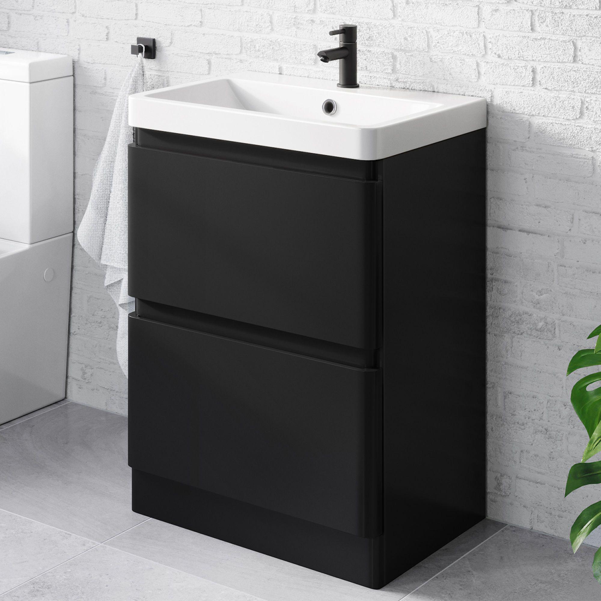 Black Vanity Unit With Sink Drawers