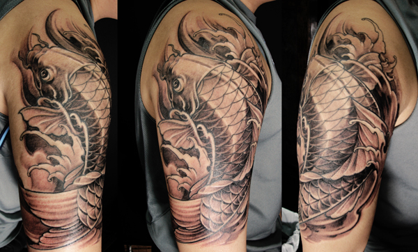 Koi fish tattoo half sleeve chronic ink tattoos black for Koi fish black and grey