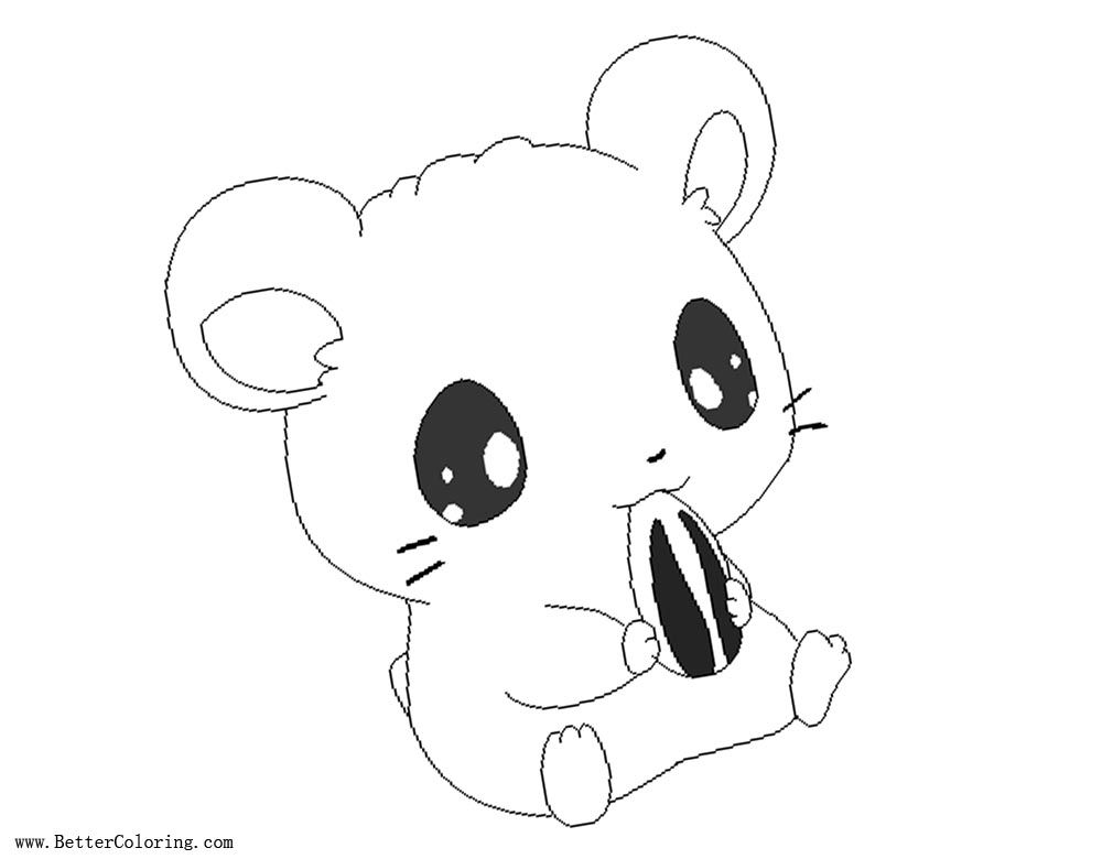 Free Cartoon Hamster Coloring Pages With Sunflower Seed Printable For Kids And Adults Hamster Cartoon Free Printable Coloring Pages Coloring Pages