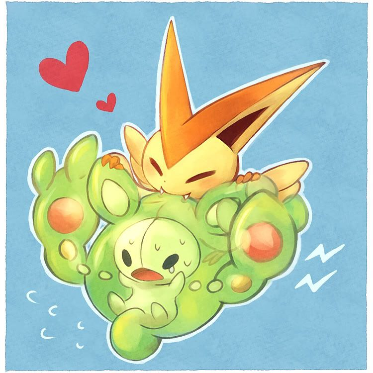 Victini nibbles Reuniclus's head in an adorable fashion ...