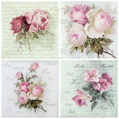 4 x Single Paper Table Napkin//33cm //3-Ply//Decoupage//Floral Vintage Bouquet