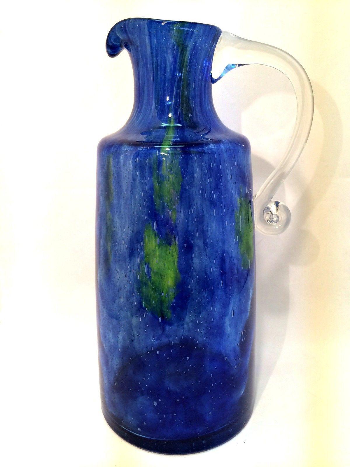 art glass pitcher hand blown blue green vase applied handle stunning