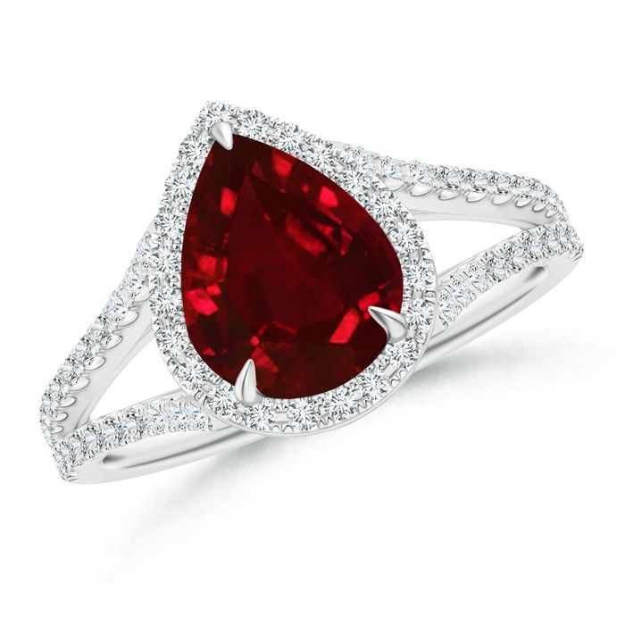 Angara Pear Ruby and Diamond Engagement Ring in Platinum