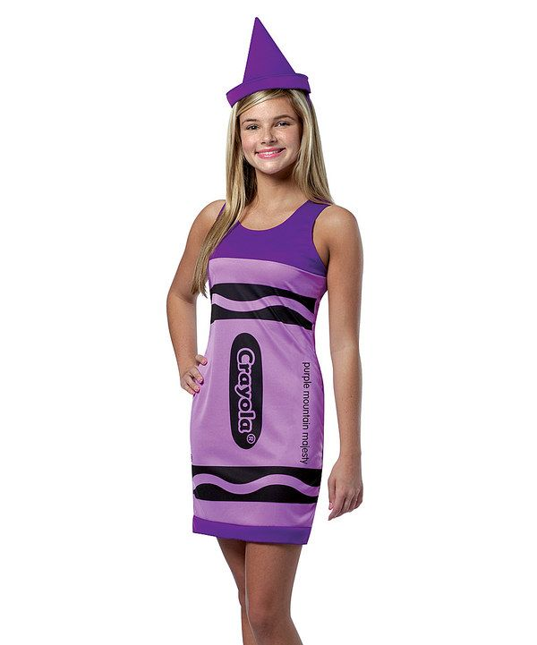 Child Girls Artist Art Crayola Crayons Color Purple Pink Blue Cute Dress Costume