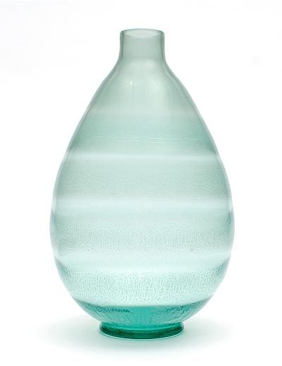 Sea Green Glass Serica Vase No33 With Horizontal Crackle Layers