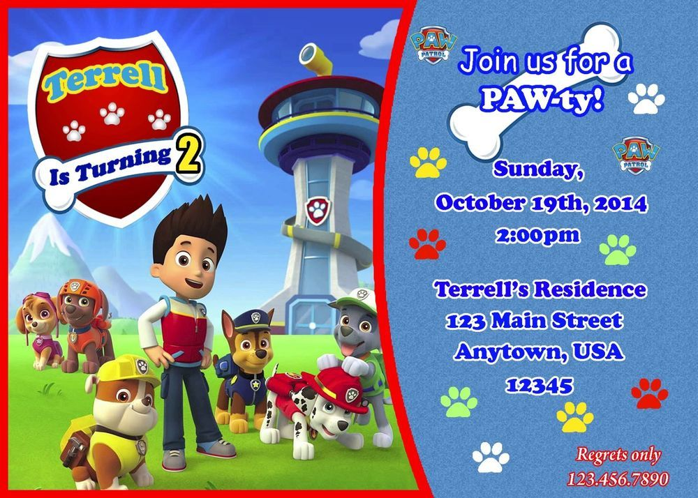 Paw Patrol Birthday Invitation Paw Patrol Party Supplies Skye
