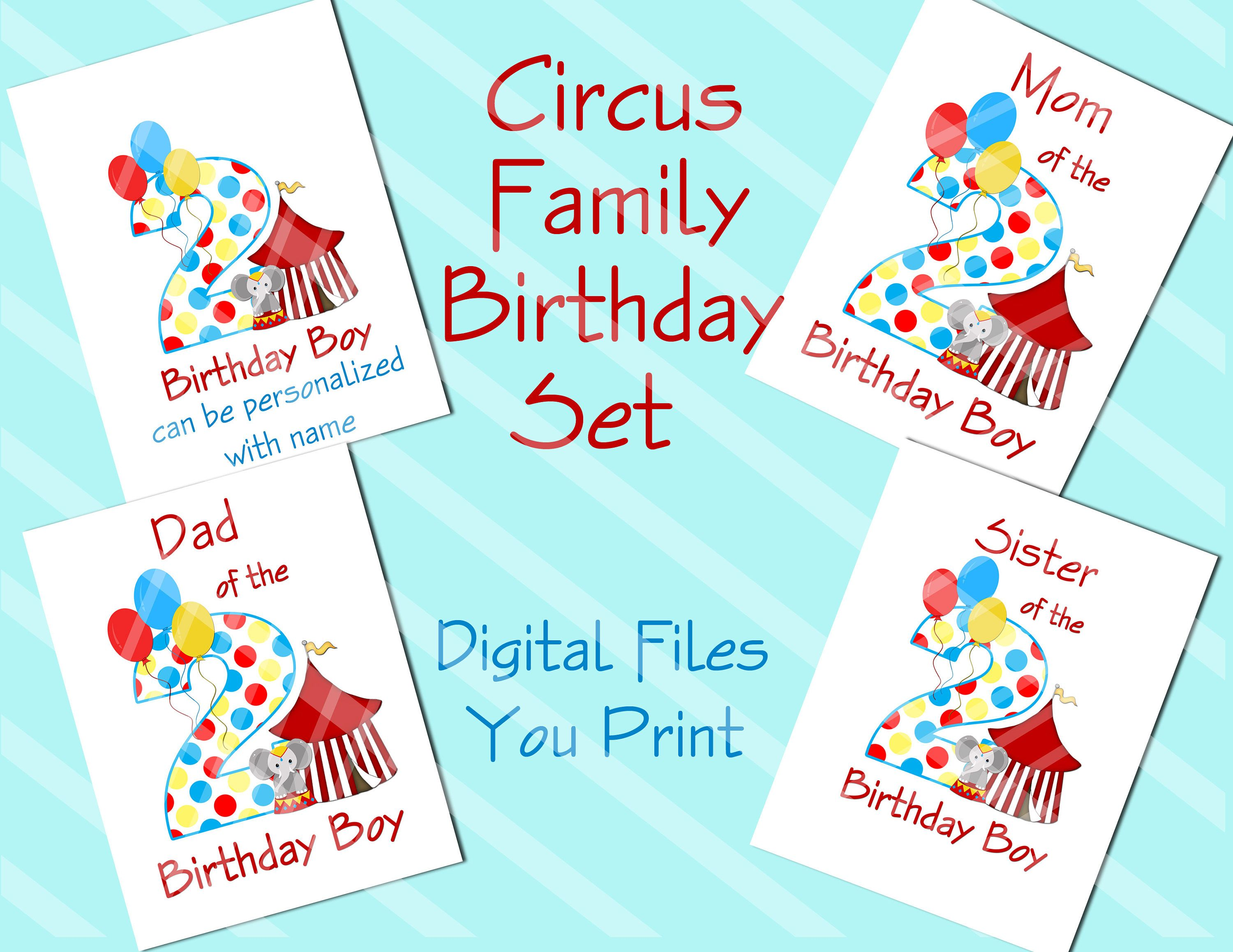 graphic regarding Printable Iron Ons named Circus Spouse and children Birthday Mounted Printable Electronic Downloads for