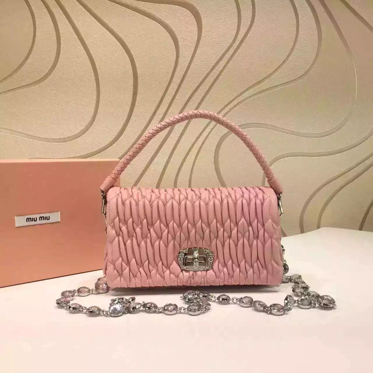 Miu Miu Lambskin Shoulder Bag 5BH012 Pink 2016   Miu Miu Pink Bag in ... 76279619e6