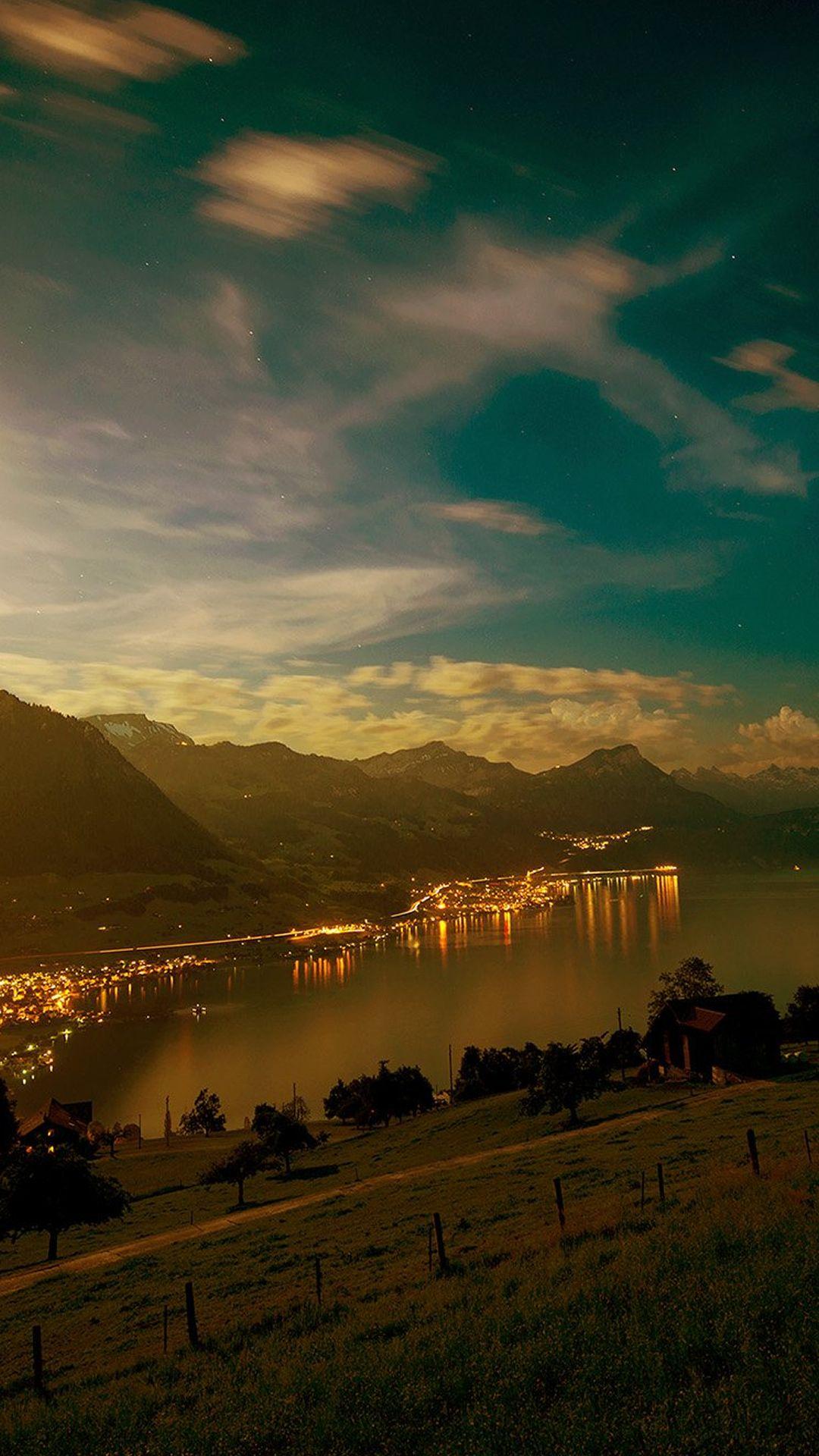 Lake Mountain City Village Night Light Nature Iphone 8 Wallpapers