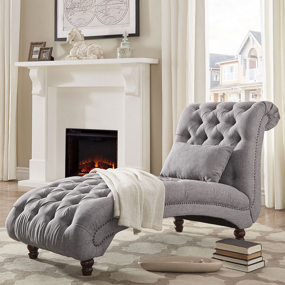Homevance tufted chaise lounge chair u pillow piece set dark grey