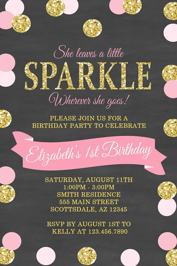 She Leaves a Little Sparkle Birthday Party Invitation, Polka Dot ...