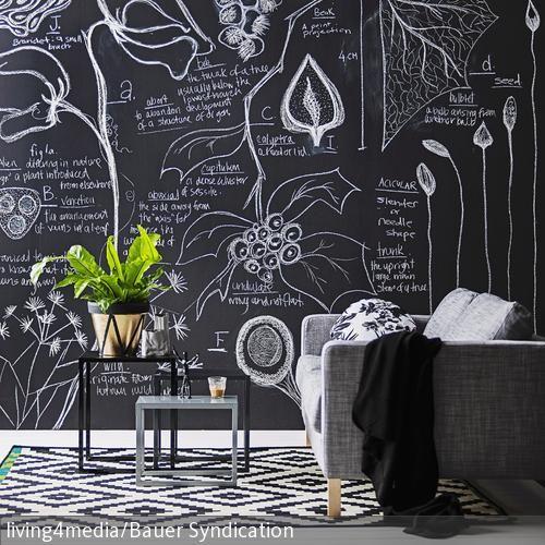 DIY Wohnzimmerwand in Tafel verwandeln Wohnzimmerwand