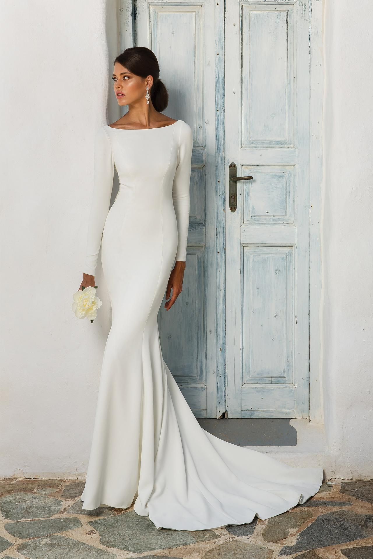 Unique white satin wedding dresslong sleeves bridal dressopen back